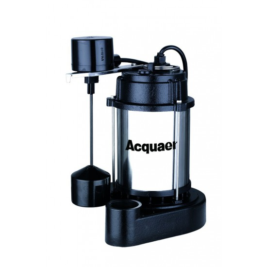 Acquaer - 1/3 HP Sump Pump - Cast Iron/Stainless Steel with Vertical Switch - SUS033-V