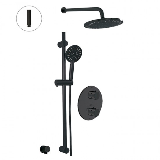 Alt - Circo - Thermostatic Shower System - 2 Functions - Matte Black