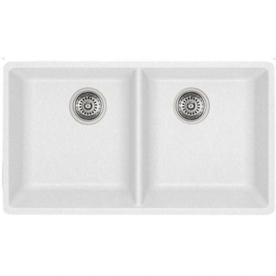 Blanco - Horizon U2 - Silgranit Double Bowl Undermount Kitchen Sink - White