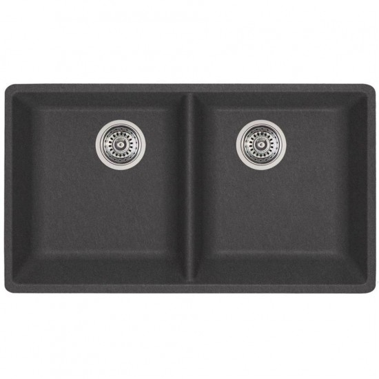 Blanco - Horizon U2 - Silgranit Double Bowl Undermount Kitchen Sink - Cinder