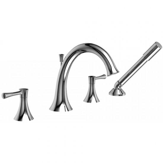 Riobel - Edge - 4-Piece Deck-Mount Tub Filler with Hand Shower - Polished Chrome