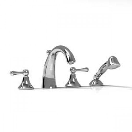 Riobel - Classic - 4-Piece Deck-Mount Tub Filler with Hand Shower - Polished Chrome