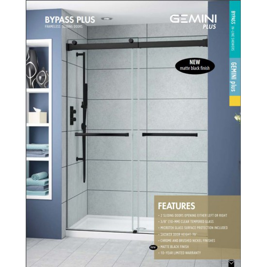 "Fleurco - Gemini Plus - In-line 57"" - 60"" Bypass Shower Doors - Matte Black"