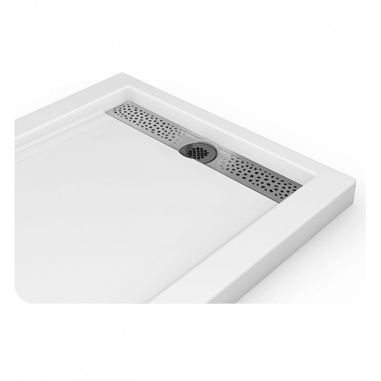 Fleurco   Quad Reversible Acrylic Shower Base With Side Drain Position U0026  Linear Drain Cover