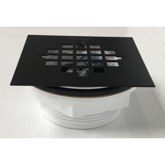 Fleurco - PVC No-Calk Shower Drain - For Molded Shower Bases - Matte Black Square