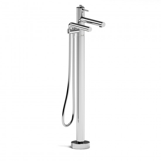 Riobel - GS - 2-WayThermostatic Coaxial Floor-Mount Tub Filler with Hand Shower - Polished Chrome