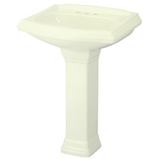 "Gerber - Allerton - 4"" Faucet Centers Standard Pedestal Lavatory - Biscuit"
