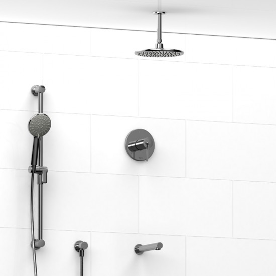 Riobel - Premium - Thermostatic / Pressure Balance ½'' Coaxial 3-Way System with Hand Shower Rail, Shower Head and Spout - Polished Chrome