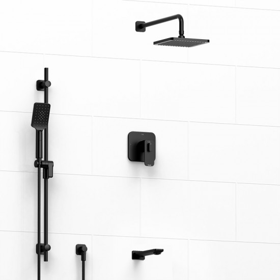 Riobel - Equinox - Thermostatic/Pressure Balance ½'' Coaxial 3-Way System with Hand Shower Rail, Shower Head and Spout - Black