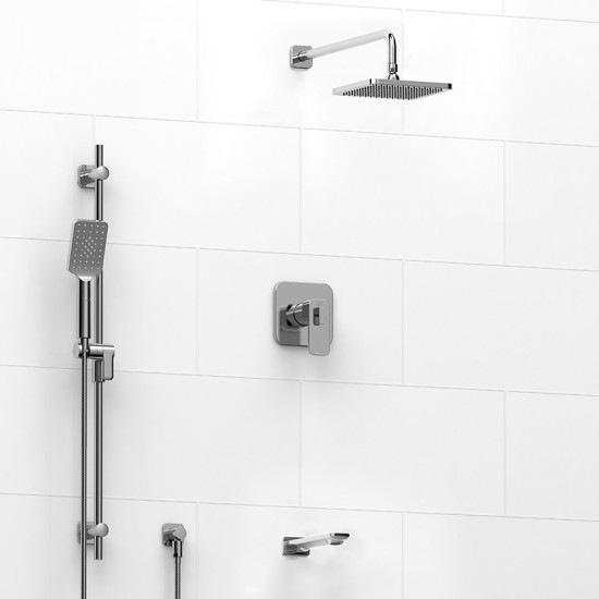 Riobel - Equinox - Thermostatic/Pressure Balance ½'' Coaxial 3-Way System with Hand Shower Rail, Shower Head and Spout - Polished Chrome