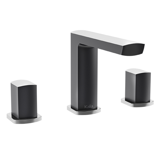 "Kalia - Grafik - 8""cc Widespread Lavatory Faucet - Black and Chrome"