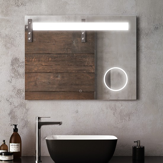 "Kalia - Emblem- Illuminated LED Mirror with Anti-Fog System and Magnifying Mirror - 38"" x 30"""