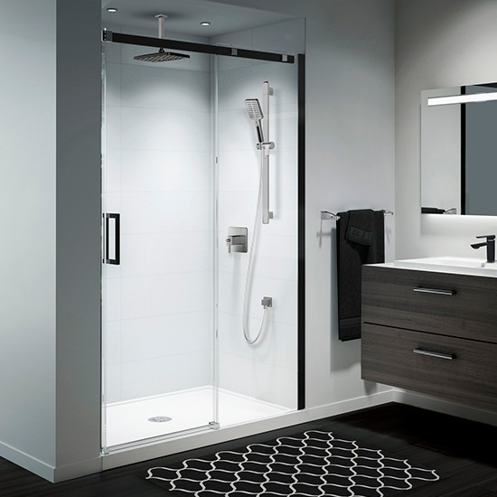 "Kalia - Vivio - 2 Panel Sliding Shower Door - Alcove Installation - 60"" x 75"" - Black and Chrome"