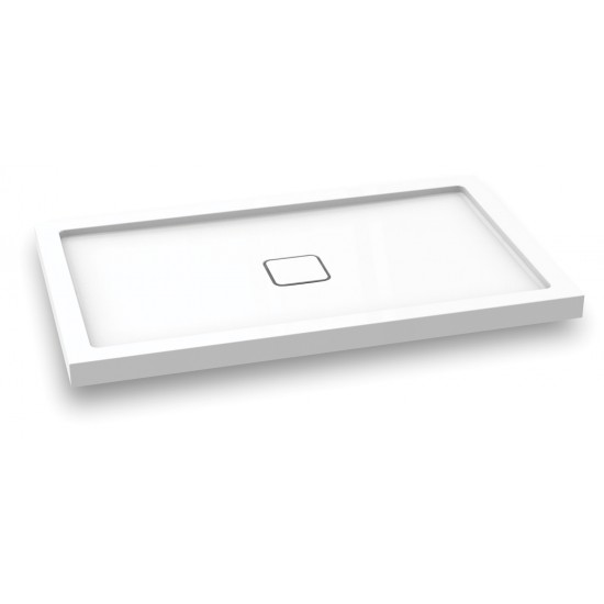 Kalia - KOVER™ - 60 x 36 Rectangular Acrylic Shower Base with Central Drain (Aluminium Tiling Flange Kit Included)