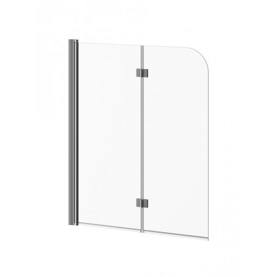 Kalia - FLIP™ - 2-panel Frameless Pivot Bath shield 46'' x 56'' - Brushed Nickel Clear Glass