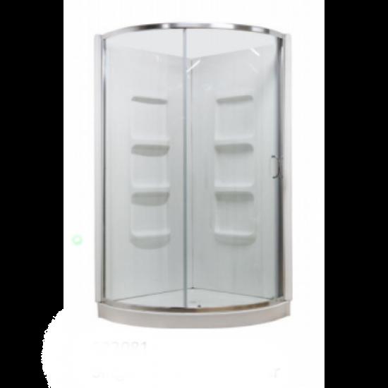 "Cabalo - Acrylic - 38"" x 38"" Round Corner Shower - Single Sliding Door Clear"