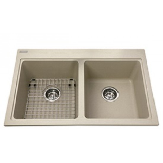 drop in kitchen sink. Kindred - Mythos Granite Double Bowl Drop In Kitchen Sink Champagne 31 9/16\