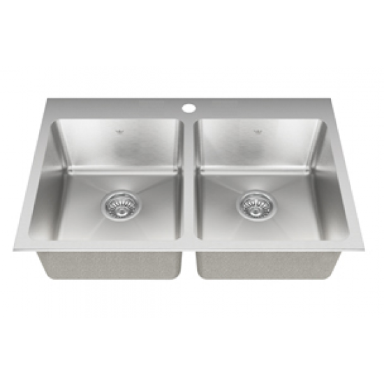 "Kindred - QDLY2031- Double Bowl Drop In Kitchen Sink - 22mm Corners - 1 Hole - 31 1/4"" x 20 1/2"" x 8"""