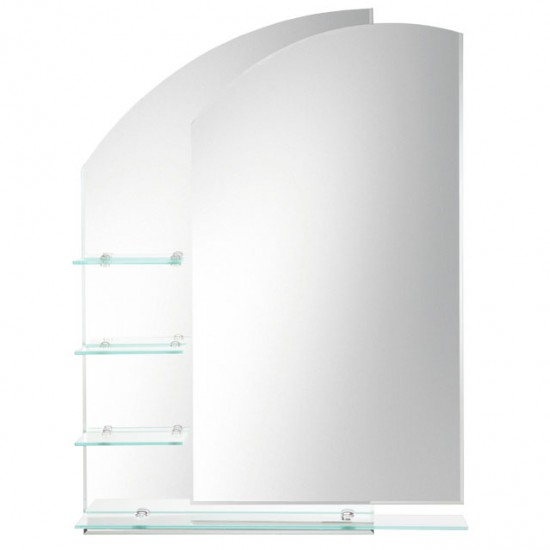 Laloo - Double Layered Mirror with Shelves - Left Hand - H00164