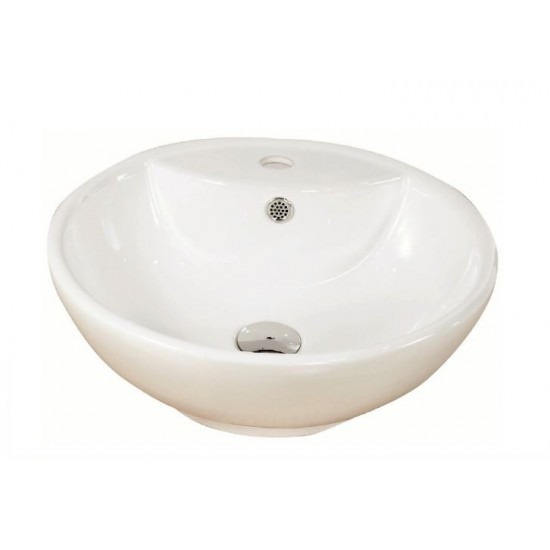 """Luxo Marbre - Round Counter-top Porcelain Sink - 18.5"""" x 6"""""""