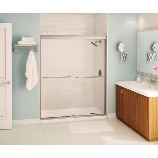 "Maax - Kameleon - 6 mm Soft Close Sliding Shower Door - 55"" - 59"" x 71"" - Brushed Nickel"