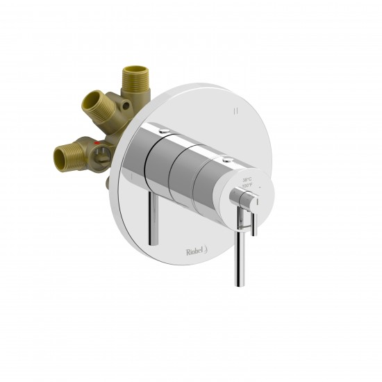 Riobel - Njoy - 3-way Thermostatic/Pressure Balance Coaxial Complete Valve - Polished Chrome