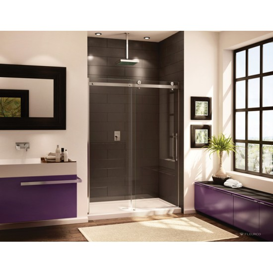 Fleurco - Novara - In-line 57-1/4 to 58-5/8  Inch Shower Door and Panel - Chrome