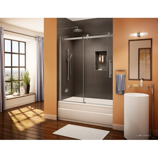 Fleurco - Novara - 56 3/4 to 58 3/4 Inch Tub Enclosure Door and Panel - Brushed Nickel