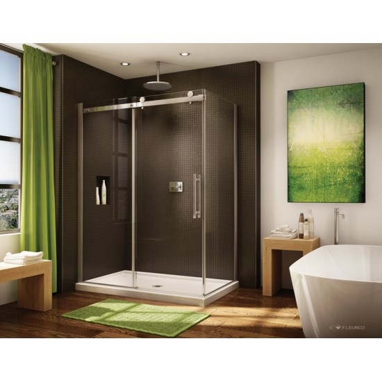 Fleurco - Novara - 57 1/4 - 58 1/4 Inch In-Line Door and Panel with Return Panel - Brushed Nickel