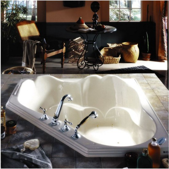 "Produits Neptune - Orphee - 2 Person Corner Drop-in Bathtub with Activ-Air Jets - 54"" x 54"""