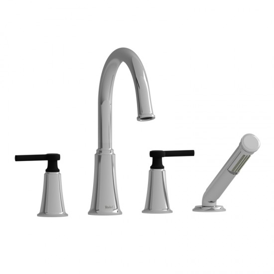 Riobel - Momenti - 4-Piece Deck-Mount Tub Filler with Hand Shower - Chrome/Black