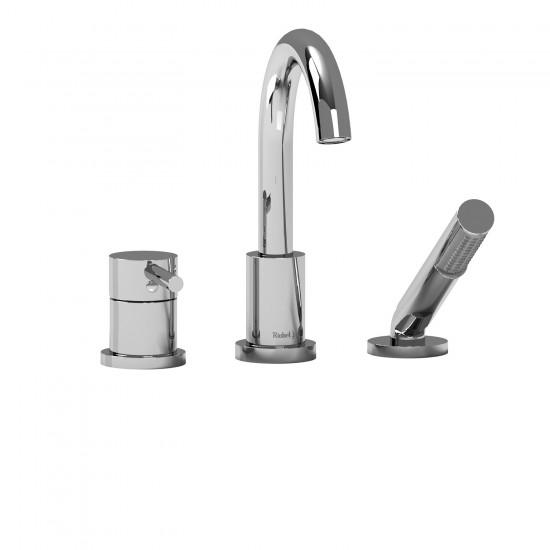 Riobel - Conik - 3-Piece Deck-Mount Tub Filler with Hand Shower - Polished Chrome