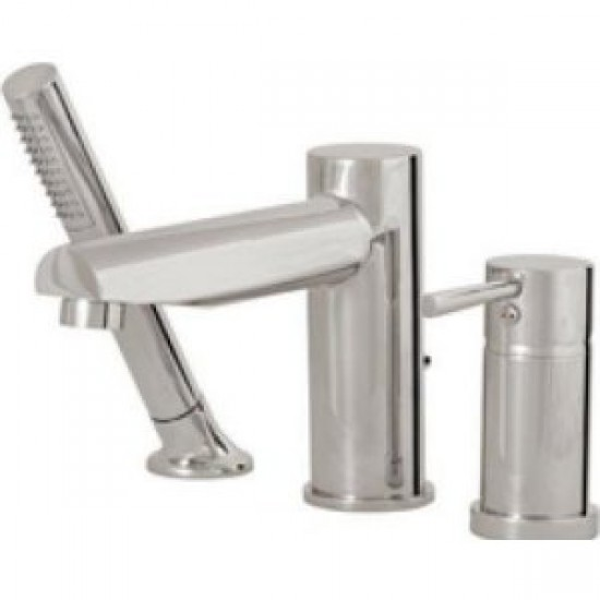 Aquabrass - Volare Straight - 3 Piece Tub Filler with Handshower - Brushed Nickel