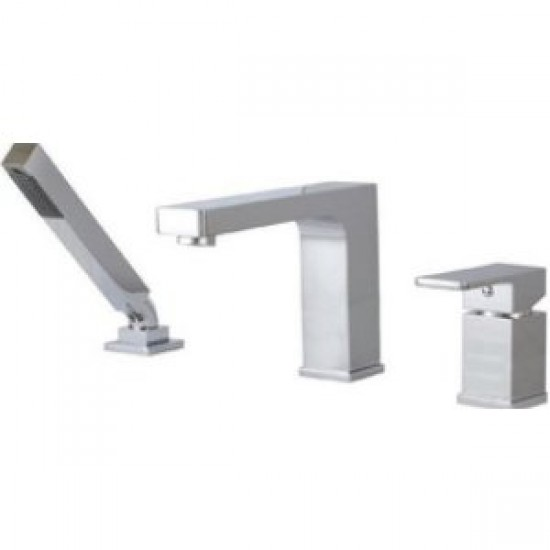 Aquabrass - Madison - 3 Piece Deckmount Tub Filler with Handshower - Brushed Nickel