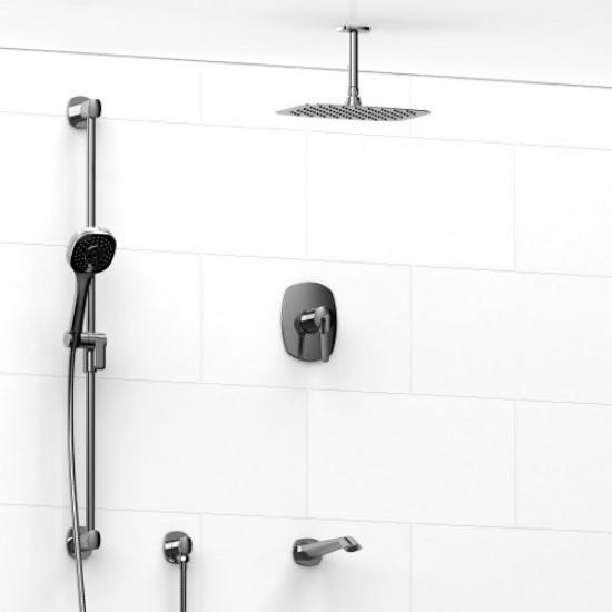 Riobel - Venty - Thermostatic/Pressure Balance ½'' Coaxial 3-Way System with Hand Shower Rail, Hand Shower and Spout - Polished Chrome