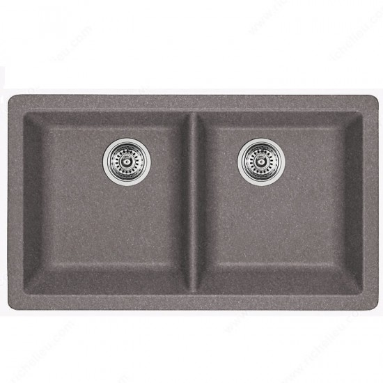 Blanco - Horizon U2 - Silgranit Double Bowl Undermount Kitchen Sink - Metallic Gray