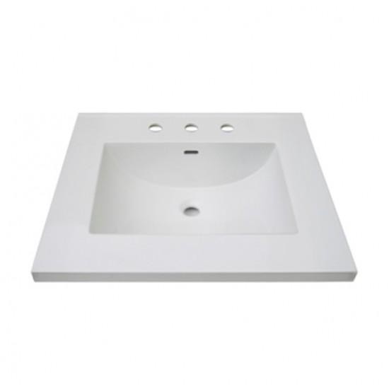 "Fairmont Designs - 3cm (1 1/4"") 25"" White Ceramic Vanity Sink Top with Integral Bowl - 8"" Spread"