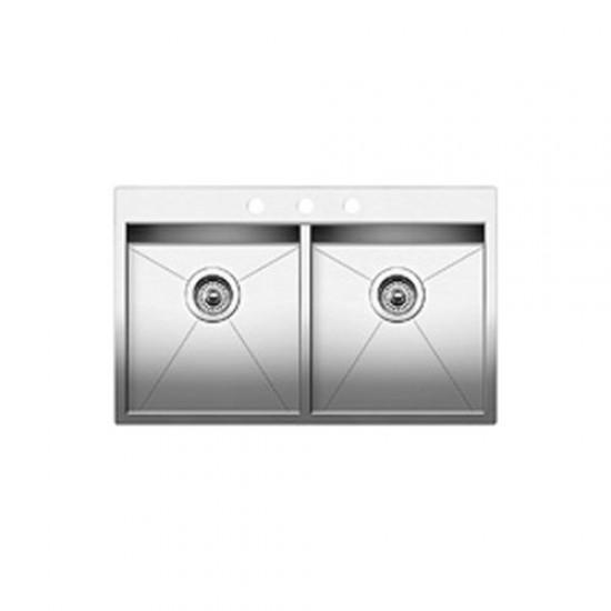 Blanco - Quatrus - Drop In 2.0 (3 Holes) Double Bowl Kitchen Sink - Satin Brushed Finish