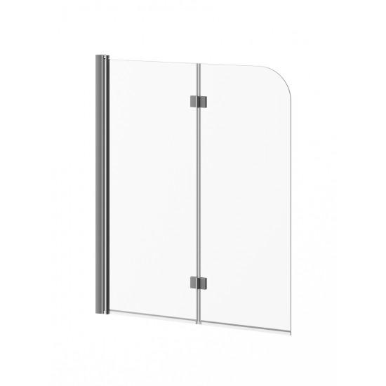 Kalia - FLIP™ - 2-panel Frameless Pivot Bath shield 46'' x 56'' - Chrome Clear Glass