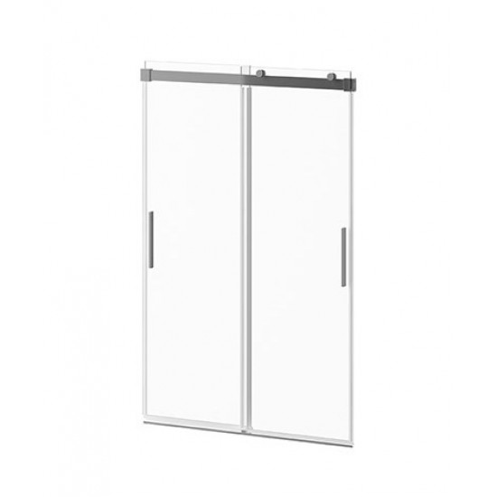 Kalia - AKCESS™ - 2 Sliding Panel Shower Door for Alcove Installation 48'' x 77'' Reversible Chrome Clear Duraclean Glass
