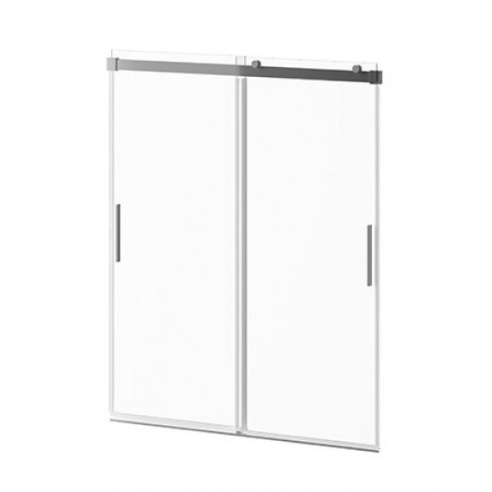 Kalia - AKCESS™ - 2 Sliding Panel Shower Door for Alcove Installation 60'' x 77'' Reversible Chrome Clear Duraclean Glass